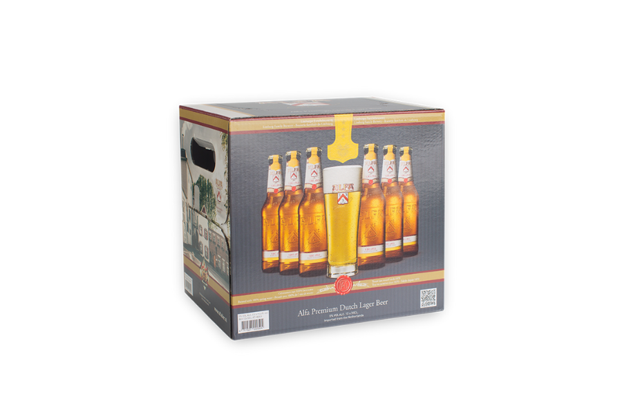 voorbeeld Shelf Ready Packaging Alfa Bier door Pack Company